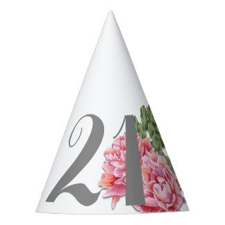 21. Geburtstags-Hut, handgemalte Pfingstrose Partyhütchen