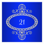 21. Geburtstags-Kobalt-Blau u. Silber-Metall Ankündigung