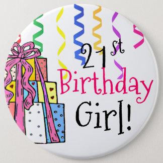 21. Geburtstags-Mädchen groß Runder Button 15,3 Cm