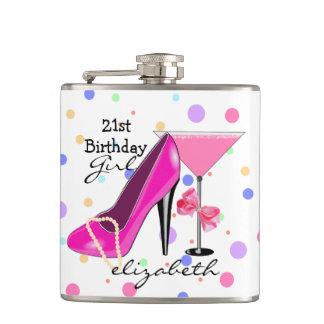 21. Geburtstags-Mädchen-Rosa-hohe Ferse Flachmann
