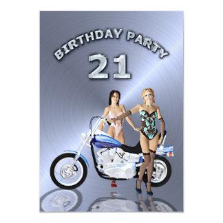 21. Geburtstags-Party Einladung mit einem Motorrad