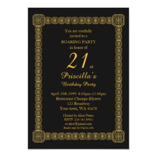 21., Geburtstags-Party, Gastby Art, schwarzes Gold Karte
