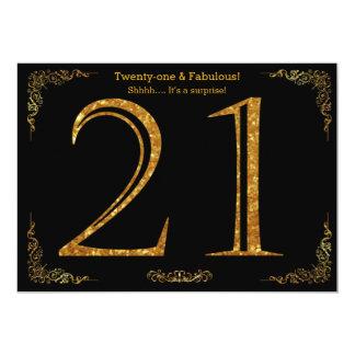 21. Geburtstags-Party, Gatsby styl, schwarzer 12,7 X 17,8 Cm Einladungskarte