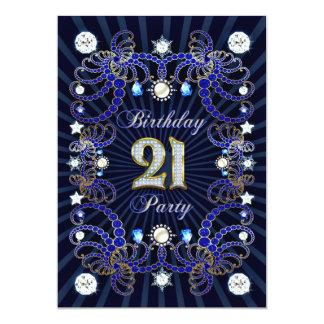 21. Geburtstags-Party laden mit Massen der Juwelen Personalisierte Ankündigungskarte