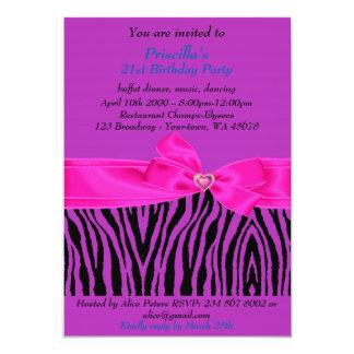 21. Geburtstags-Party, Zebra, schwarzes lila Blau Karte