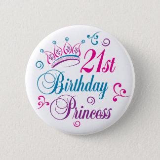 21. Geburtstags-Prinzessin Runder Button 5,1 Cm