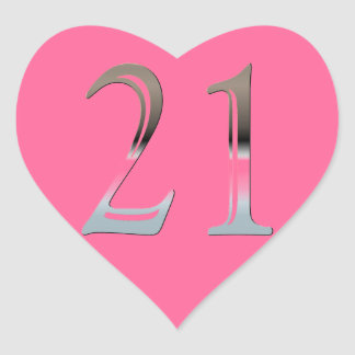 21. Geburtstags-Silber | Nr. 21 Herz-Aufkleber
