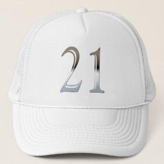 21. Geburtstags-silberne Zahl 21 Truckerkappe