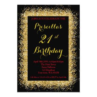21. Geburtstagseinladung, Schwarzes, Confetti, Karte