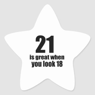 21 ist groß, wenn Sie Geburtstag schauen Stern-Aufkleber