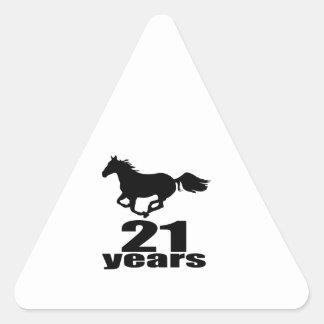 21 Jahre Geburtstags-Entwurfs- Dreieckiger Aufkleber