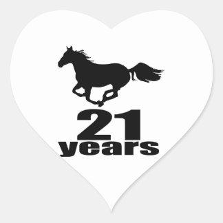 21 Jahre Geburtstags-Entwurfs- Herz-Aufkleber