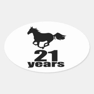 21 Jahre Geburtstags-Entwurfs- Ovaler Aufkleber