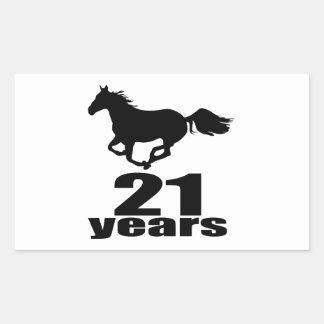 21 Jahre Geburtstags-Entwurfs- Rechteckiger Aufkleber