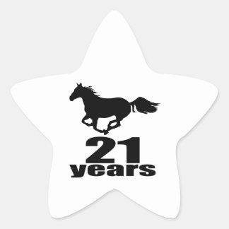 21 Jahre Geburtstags-Entwurfs- Stern-Aufkleber