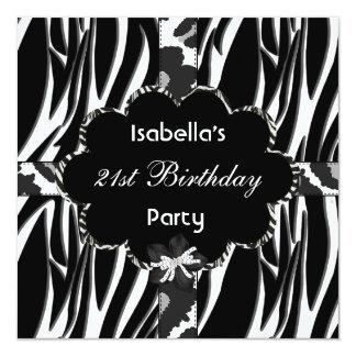 21. Jugendlich Geburtstags-PartySchwarz-weißer Karte