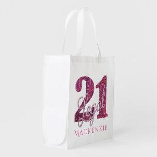 21. Legaler Glitzer des Rosa-| der Gewohnheits-21 Wiederverwendbare Einkaufstasche
