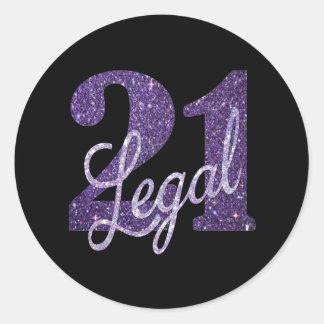 21. Legales Schwarz-Party-Thema Glitzer-lila | 21 Runder Aufkleber