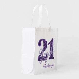 21. Lila legaler Glitzer | Gewohnheits-21 mit Wiederverwendbare Einkaufstasche