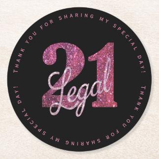 21. Rosa   danken Ihnen legaler Glitzer der Runder Pappuntersetzer