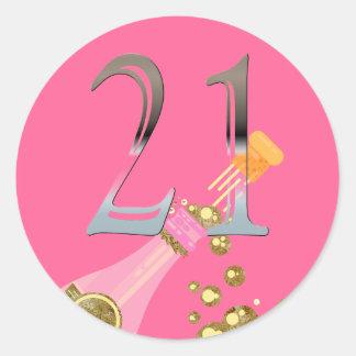 21. Silberne Zahl 21 Geburtstags-rosa Champagne Runder Aufkleber