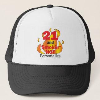 21 und Smokin heißer | 21. Name Geburtstags-| DIY Truckerkappe