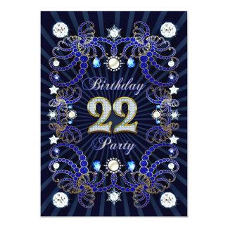 22. Geburtstags-Party laden mit Massen der Juwelen 12,7 X 17,8 Cm Einladungskarte