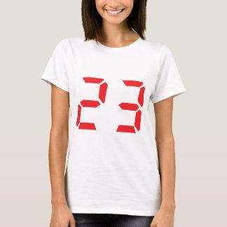 23 dreiundzwanzig digitale Zahl des Rot-Weckers T-Shirt