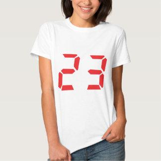 23 dreiundzwanzig digitale Zahl des Rot-Weckers Tshirt