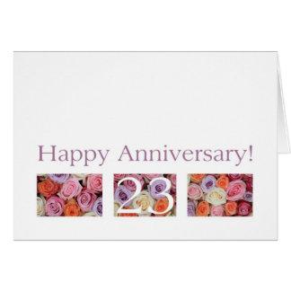 23. Hochzeits-Jahrestags-Kartenpastell-Rosen Grußkarte