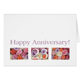 23. Hochzeits-Jahrestags-Kartenpastell-Rosen Karte