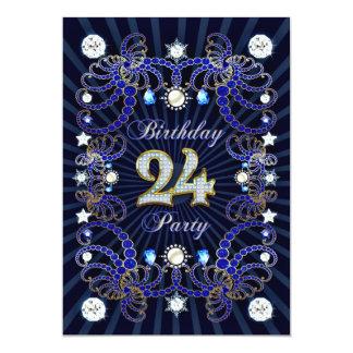24. Geburtstags-Party laden mit Massen der Juwelen 12,7 X 17,8 Cm Einladungskarte