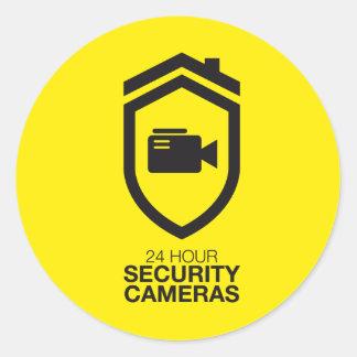 24 Hour Security Cameras Runder Aufkleber