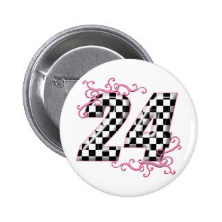 24 Schachbrettflaggenzahl Runder Button 5,7 Cm