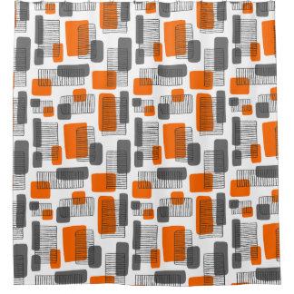 251215 - Orange und Grau Duschvorhang