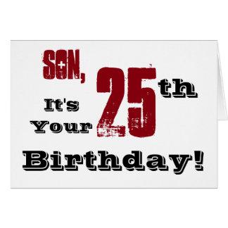 25. Geburtstagsgruß des Sohns in Schwarzem, rot, Karte