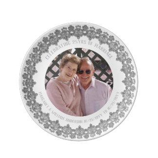25. Hochzeits-Jahrestag - ADDIEREN Sie FOTO Teller