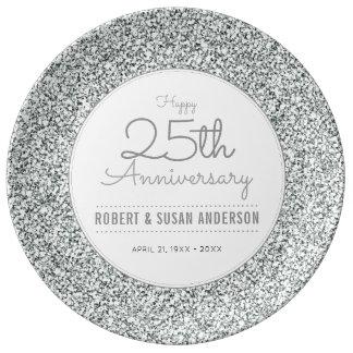 25. Hochzeits-Jahrestags-Imitat-silberner Glitter Teller