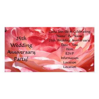 25. Hochzeits-Jahrestags-Party Einladungs-Rose Personalisierte Photo Karte