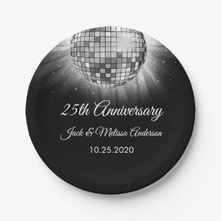 25. Hochzeits-Jahrestags-Party-Silber-Disco-Ball Pappteller