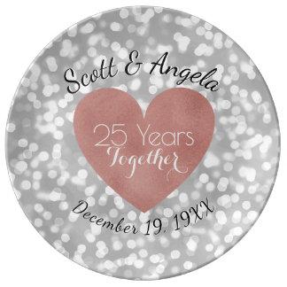 25. Hochzeits-Jahrestags-Rosen-Goldsilber 25 Jahre Porzellanteller