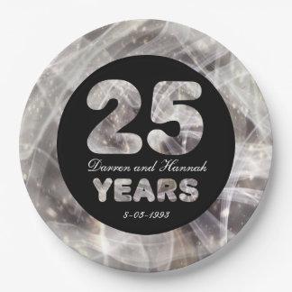 25. Hochzeits-Jahrestags-Silber-Party-Lichter Pappteller