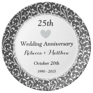 25. Hochzeits-Jahrestags-Silber Wirbles W25B Porzellanteller