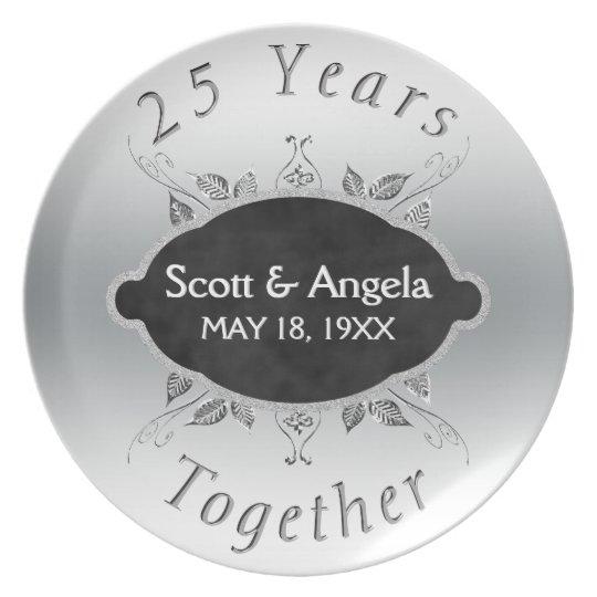 25. Hochzeitstag-Andenken | 25 Jahre Melaminteller