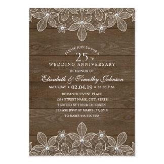 25. Hochzeitstag-rustikale hölzerne Land-Spitze Karte