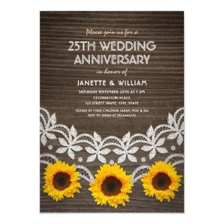 25. Hochzeitstag-rustikale Sonnenblume-Spitze Karte