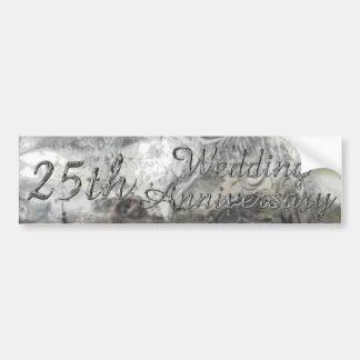 25. Hochzeitstag-schicke silberne Typografie Autoaufkleber