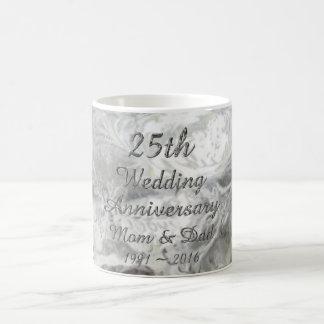 25. Hochzeitstag-schicke silberne Typografie Kaffeetasse