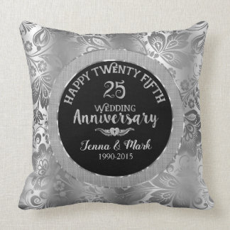 25. Hochzeitstag-schwarze u. silberne Damaste Kissen