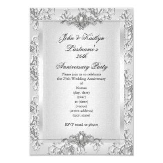 25. Jahrestags-Party-Damast-Silber-Weiß Karte